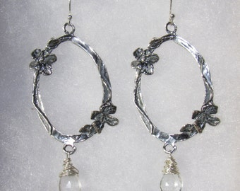 Artisan Cast Sterling Silver Earrings with Wiire Wrapped Green Amethyst faceted tear drops