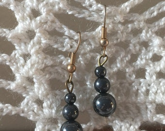 Hematite Stacked Spheres Earrings Complete with Brass Hooks