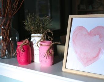 Mason Jar Decor. Bridal Shower Centerpiece. Baby Shower Decor. Glass Jars. Painted Mason Jars. Rustic Decor. Summer Decor. Vase Centerpiece.