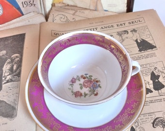 Former french Cup NOC luxury porcelain numbered 38 Vintage french porcelain cup luxury nacional company number 38 gilding flowers flowers