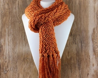 Knitted Con Amor - Pumpkin Orange Multicolor Hand Knitted Scarf - Knit Scarf, Women's Scarf, Fringed Scarf, Handmade, OOAK (139)