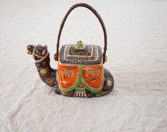 Vintage Handpainted Camel Teapot with Wicker Handle