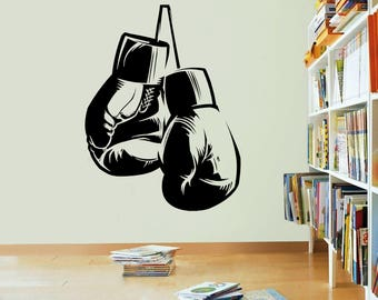Boxing Gloves Wall Vinyl Sticker Decal Art Quote Bedroom Boxing Club Gym Weights Fight Box Boxer