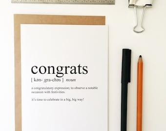 Congratulations Card - Congrats Card - Graduation Card - Greeting Card - Humorous Greeting Card