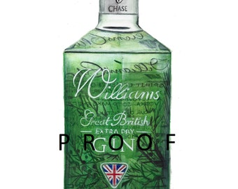 William's Gin Giclée Limited Edition Print of my original watercolour