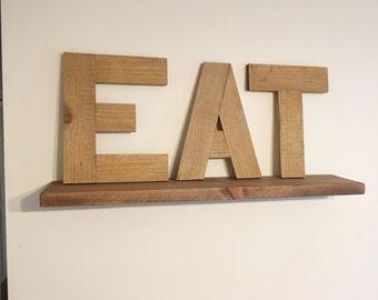 Rustic Reclaimed Wood Eat Sign, Rustic Eat Letters, Rustic Word Eat, Rustic Letters Eat, Wood Eat Word, Wooden Eat Word, Reclaimed Wood Sign