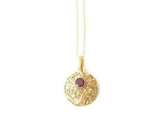 Tilaka Necklace - Garnet Gold Vermeil, On Sale!