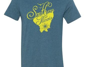 Southern Illinois, Blue, Yellow, Illinois Pride, Illinois shirt, Southern Illinois, Southern Illinois University, SIU, Illinois TShirt