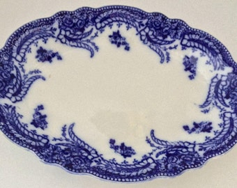 "Antique *Ashburton* Flow Blue 10"" Oval Serving Platter, W H  Grindley~c. 1891-1914"