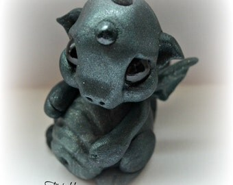 "Frinkle Dragon polymer clay one of a kind sculpt Dark Green ""Biggles"""