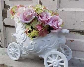 Elegant blush pink floral arrangement in a whimsical Cinderella style carriage/Cinderella carriage/Nursery decor