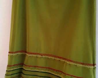 Vintage Olive Green Lycra Sheer Fully Lined Beaded Skirt - Size Small