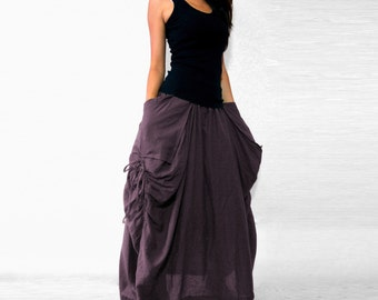 Purple Lagenlook Hot Maxi Skirt Unique Long Skirt Big Pockets Summer Maxi Skirt - SK001