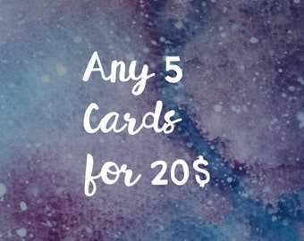 5 cards for 20,  5 cartes pour 20, pick your own cards, pack of 5 cards, choose your own cards