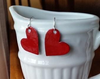 Red Heart Earrings, Heart Earrings, Red Jewelry, Heart Jewelry, Red Earrings, Upcycled jewelry, Gifts for her, Handmade Earrings, handmade
