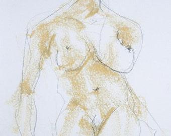 Modern nude drawing, sketch, female body drawing, original nude, erotic, sexy pose, pastel chalk