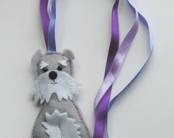 Handmade Felt Schnauzer Dog & Ribbon Bookmark