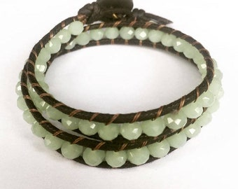 Pale Green Turquoise 6mm Glass Bead double wrap bracelet with button fastening 2mm cotton cord
