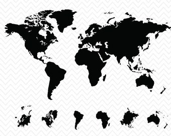 World Map with All Continents- Silhouette Studio or Cricut Explore- svg, pdf, eps, dxf files- World's map- Instant Download- studiostudio 3