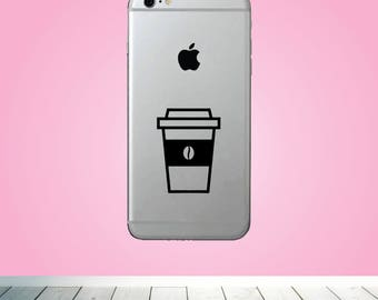 Coffee cup VINYL DECAL - Silhouette decal - Custom phone Decal for him her friend kids boyfriend - Coffee bean cup Vinyl Decal