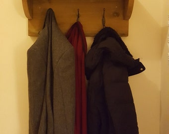 Handmade Rustic Wooden Wall Mounted Coat Rack with Shelf - others colours / sizes available