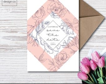 Instant Digital Download - Save the Date - Pastel Floral - Wedding Stationery - Invitation