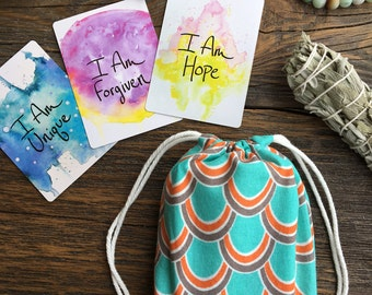 Small Turquoise Coral Tarot or Oracle Card Deck Cotton Drawstring Bag - Holds the  I Am Power Deck, Spirit de la Lune, and more!