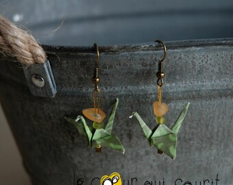 (Crane) - G015 origami earrings