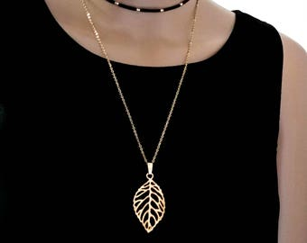 Layered Gold Chain Choker with Feather Pendant , Double Strand Choker Necklace, Gold Leaf Pendant Necklace, Long Gold Chain, gift for Her