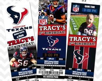 Houston Texans Invitation, Texans Football Invitation, Texans Save the Date Card, Texans Baby Shower, Texans VIP Pass Invites