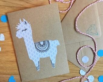 Llama card, Alpaca card, Kraft card, Recycled Kraft card, birthday card, animal birthday card, unusual card