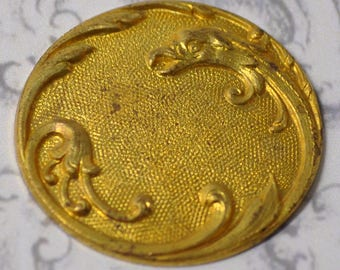 Vintage French Bird Ornate Die Casting Pendant or Button Finding For Enameling Raw Brass 1 Piece 397J
