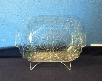 Vintage Indiana Glass Pineapple and Floral Small Serving Tray