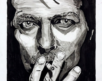David Bowie Ink Portrait Giclée Print