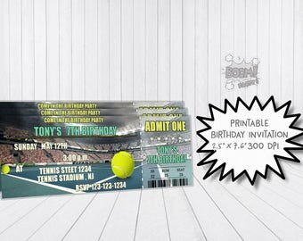 Tennis, Tennis Birthday Party ticket, Tennis Invitation, Tennis Ticket Invitation, Tennis Party, Printable Invitation, Personalized Invites