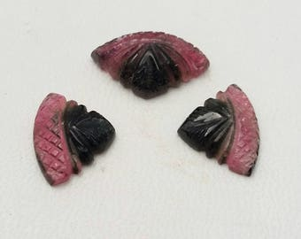 Very nice quality Natural WATERMELON TOURMALINE carved tourmaline triangle shaped gemstone, 3 pieces pair, 12 ct.Approx [E0934]