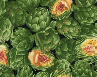 Sale 1.77 YDS--Food, Overlapping Green Artichokes on Solid Black Cotton Fabric from Timeless Treasures Fabrics C8652-G