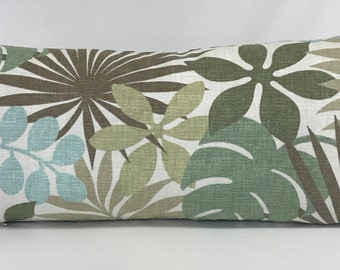 Pillow Cover - Tropical Pillow - Blue - Green - Aqua Tropical Leaf Design - Fully Lined -  Invisible Zipper