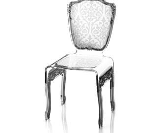 Acrylic Baroque Style White Chair
