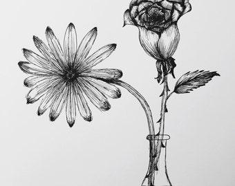 Flower Vase Pen Art