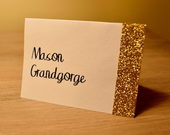 Wedding Place Cards, Wedding Place Cards, Gold Glitter Place Cards, Silver Glitter Place Cards, Glitter Place Cards White Place cards