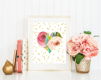 Floral Heart Print-Gold Dots-Watercolor Flowers-Watercolor Heart-Love Print-Nursery Print-Gold-Printable-Instant Download-Wall Art Decor