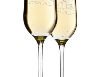 Set of 2 - Mr. Mrs. Wedding Champagne Flutes, Personalized Champagne Flute Wedding Favors, Custom Bride and Groom Champagne Glasses #1