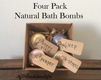 Natural Handmade Bath Bombs 4 Pack