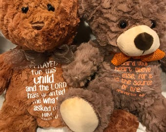 Personalized Stuffed Bear with Scripture