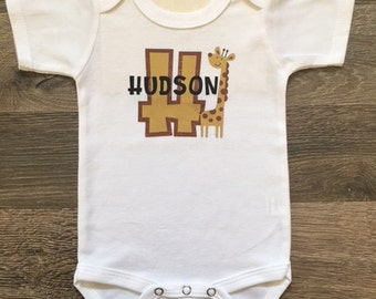 Giraffe Name Decal Bodysuit in Gold and Copper with Black Lettering