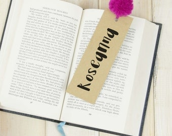 Personalised Pom Pom Bookmark - colourful book mark - Custom bookmark - Book lover gift - bookworm gift - reader gift - your name bookmark