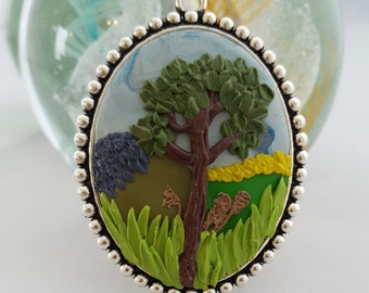 Beautiful applique Cameo Pendant or Brooch, Made with Polymer Clay. Summer Tree and Landscape.