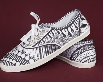 Hand Drawn Zentangle Doodle Canvas Shoes