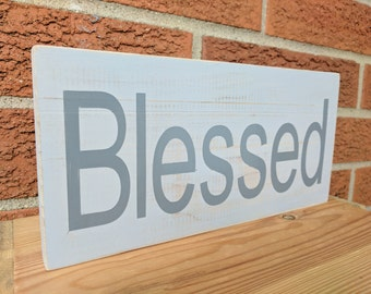 Blessed Sign // Inspirational Sign // Hand Painted // Wood Sign // Blessed // Wall Art // Blessed Wall Decor
